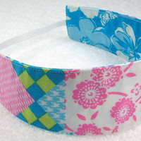 Children reversible headband - M2M Matilda Jane blue pink cotton fabric little girl toddler party favor - Bandeau rversible