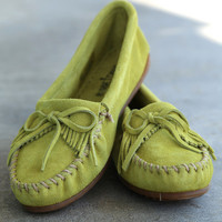 Minnetonka Kilty Suede Moccasin {Lime}