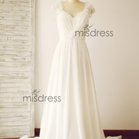 Chiffon Lace Wedding Dress Bridal Gown Cap Sleeves Sheer See Through Open Back Beading Sweep Train Dress