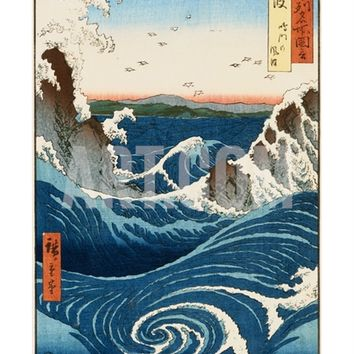 Whirlpool and Waves at Naruto, Awa Province Giclee Print by Ando Hiroshige at Art.com