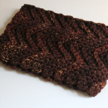 Crochet Chunky Cowl, Ribbed Cowl, Chevron Cowl, Reversible Cowl, Winter Accessories