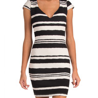 Monochrome Striped Cap Sleeve Bodycon Dress - Black /