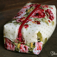Polka Dot and Rose Makeup bag / Cosmetic bag / Pencil Case / Accessories Bag / Travel Pouch / Box Bag
