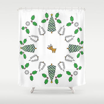 Christmas Deer Shower Curtain by Ornaart | Society6