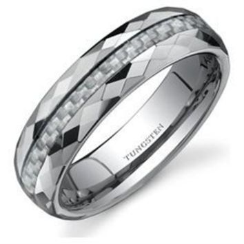 Buy.com - Faceted Edge White Carbon Fiber 6mm Comfort Fit Mens Tungsten Wedding Band Ring Size13