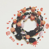 Black Skull Day of the dead Bracelets . FREE U.S SHIPING. one size fits all, Perfect for halloween and everyday outfits!