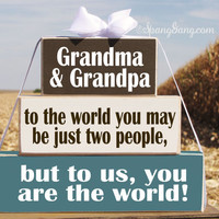 "Pregnancy Announcement idea. Christmas Mother's Day gift for Grandma & Grandpa. Wood Blocks: ""To the world you may be two people..."""