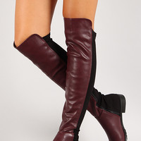 Two Tone Leatherette Thigh High Boot
