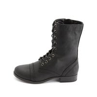 Cap-Toe Lace-Up Combat Boots by Charlotte Russe - Black