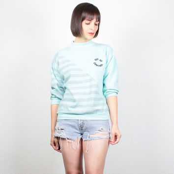 Vintage 80s Sweatshirt Teal Blue Gray Striped Boyfriend Sweater Out Of Control Novelty Print Pullover 1980s Tshirt Jumper S Small M Medium