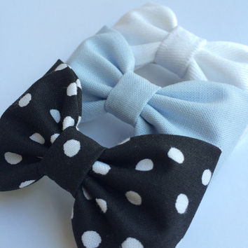 White denim, powder blue, and black and white dot hair bow lot from Seaside Sparrow.  This Seaside Sparrow set makes a perfect gift for her.