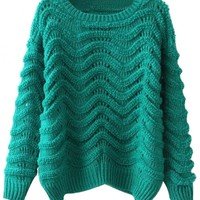 Chic Solid Hollow-Out Cable Sweater - OASAP.com