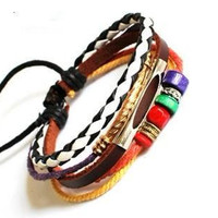 bangle leather bracelet buckle bracelet women bracelet men bracelet girls bracelet with ropes leather silver wood beads metal  SH-01025218