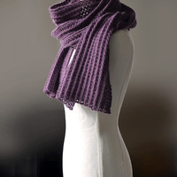 """Knitted angora scarf chunky scarf ribbed scarf unisex scarf in plum colour """"Plume"""""""