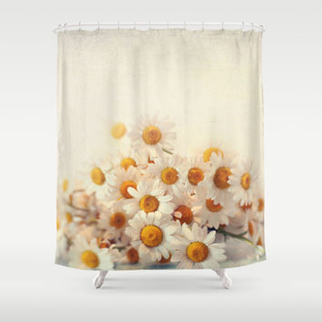 daisies on a stool Shower Curtain by Sylvia Cook Photography