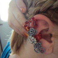 Crystal Hearts Ear Wrap by Beadinglikecrazy on Etsy