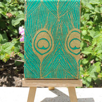 Green and Gold Peacock Feathers on Mini Canvas with Matching Gold Easel, Cute Little Canvas, Painted Peacock Feathers
