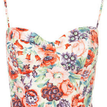 Rose Print Corset - Tops  - Clothing