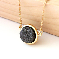 Small druzy pendant - hematite color