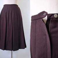 Wool 60's Sabre Slims Skirt - Jet Brown Midi Skirt - 1960's Vintage Skirt - Pure Virgin Wool Skirt - Box Pleated Skirt  - Winter Skirt
