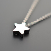 Cute Mini Star Pendant Silver Necklace.