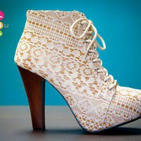 Qupid Puffin-39 Ivory Lace Platform Ankle Bootie - Shoes 4 U Las Vegas