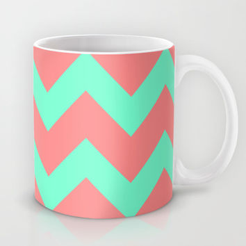 Chevron Coral Red Mint Green Mug by Beautiful Homes