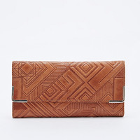 Ecote Geometric Embossed Leather Wallet in Tan - Urban Outfitters
