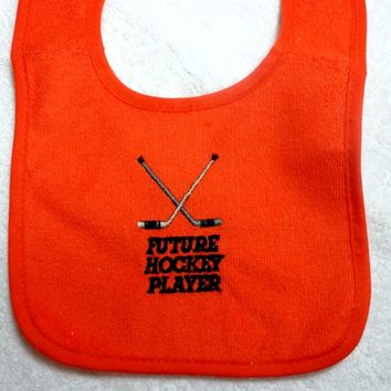 Baby Bib Future Hockey Player Orange Small to 6 Months Embroidered