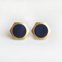 Navy  geometric hexagon circle stud earring