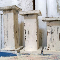 Handmade wood pillar candle holders large chunky shabby cottage white OOAK Anita Spero