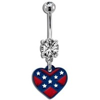 Rebel Flag Heart Belly Button Ring Dangle