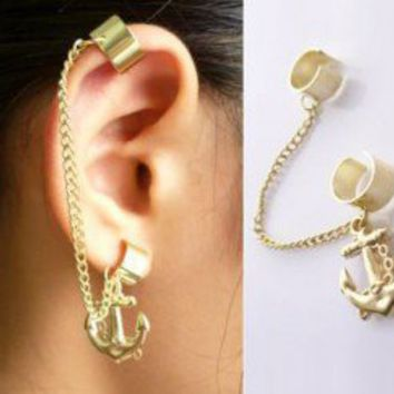 Anchor Clips Single Ear Cuff | LilyFair Jewelry