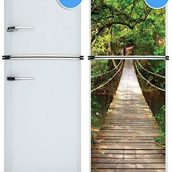 "Door Wall Fridge VINYL STICKER or not sticky PAPER rope bridge tropic forest poster, mural, decole, film 30x79"" (77x200 Cm) (Paper)"