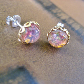 Tiny Fire Opal Glass Stud Post- Round Stainless Steel Earrings Mini Small 7mm Pink