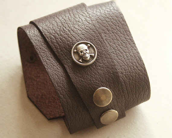 Leather Wrap Cuff Bracelet Dark Brown With Pirate Skull Button