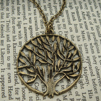 Tree in a circle Brass Necklace