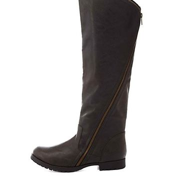 Qupid Zipper-Wrapped Riding Boots by Charlotte Russe - Black