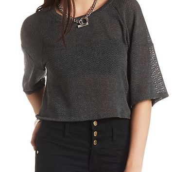Kimono Sleeve Sweater Knit Crop Top by Charlotte Russe - Charcoal