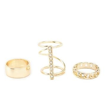 Smooth, Bar & Chain Rings - 3 Pack by Charlotte Russe - Gold