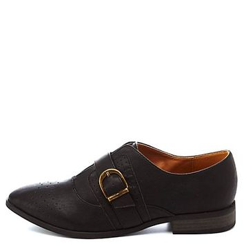 Qupid Monk Strap Perforated Oxfords by Charlotte Russe - Black