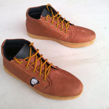 Brown leather shoes men handmade Rangkayo casual sneakers US 9 ankle boots