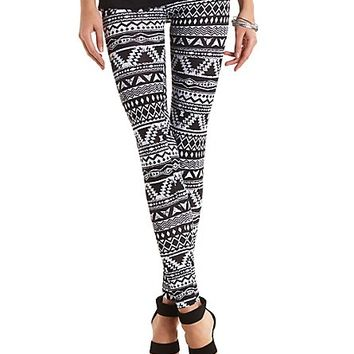 Cotton Tribal Printed Leggings by Charlotte Russe - Black/White
