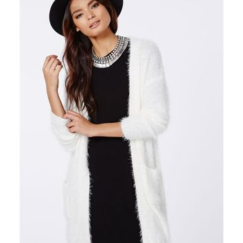 Missguided - Ceris Knitted Fluffy Cardigan Cream