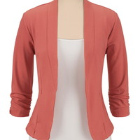 3/4 cinched sleeve open front blazer