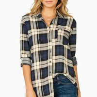 EDDIE PLAID BLOUSE IN NAVY