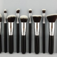 BESTOPE® Makeup Brush Set Cosmetics Foundation Blending Blush Eyeliner Face Powder Brush Makeup Brush Kit (10pcs Black+Sliver)