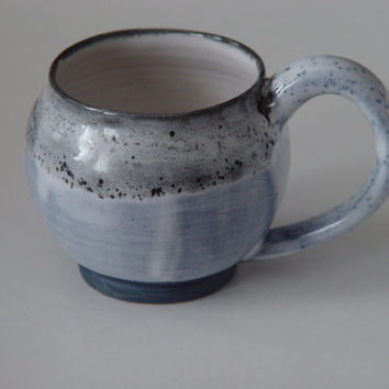 Unique Coffee Mug \ Tea Cup Large Handled 12 ounce oz pottery, Blue Gray & White, Wheel Thrown Pottery ceramic