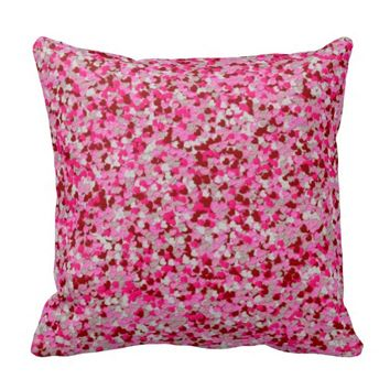 Foil Confetti Hearts, Pink-Red Throw Pillow