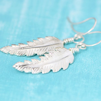 Fall Sale Sterling Silver Feather Earrings - Nature Jewelry - Silver Feather Dangle Earrings - Feather Jewelry - Sterling Feather